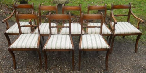 Set Eight Regency Style Sabre Leg Mahogany Dining Chairs